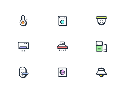 iOT Smart Device Icons 🏠 washingmachine ui thermometer smartdeviceicons refrigerator plug lightbulb iconset icons iconpack iconography icondesign dribbblers doornob devices cam aircondition