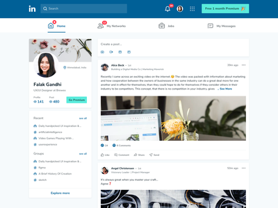 LinkedIn Home page - Redesign sketch figma user experience ux uidesign social network socialmedia homepage design home screen webpage redesign linkedin