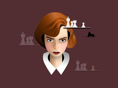 Elisabeth Harmon - Queen's Gambit elizabeth digitalart fanart portrait caricature chess bethharmon design illustration