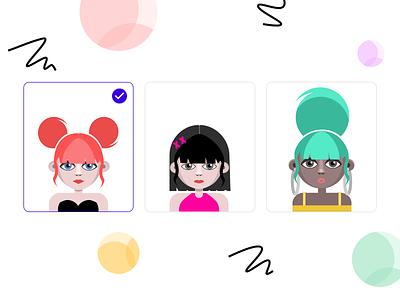 Avatars character charater design avatardesign avatar cute illustrations female girls cute faces flat vector illustrations web