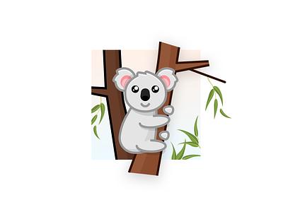 Koala eucalyptus cute animal cute koala design flat vector illustration
