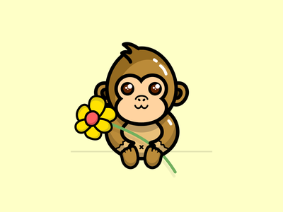 Koko - The gorilla cute character flat ui design vector illustration