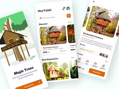 Magic Trees - Treehouse Booking App icons booking app ios app design vector illustration ui