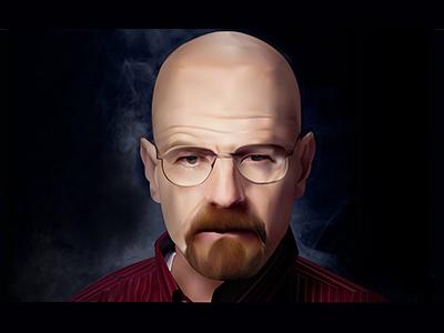 Walter White heisenberg mesh tv show bryan cranston face illustration drawing series breaking bad walter white potrait