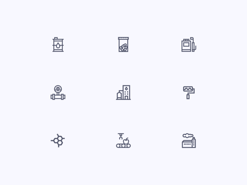 Industrial Icons flat illustrator ux energy food composites paints dyes water gas oil agrochemical pharmaceutical chemical iconset icons industry design ui