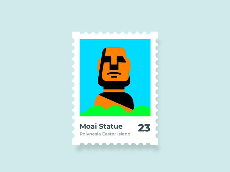 Weekly Warmup  | Moai Statue Stamp landmarks landmark mystery famous holidays trip travel mountain island flat illustration stamp design weekly challenge weekly warm-up destination