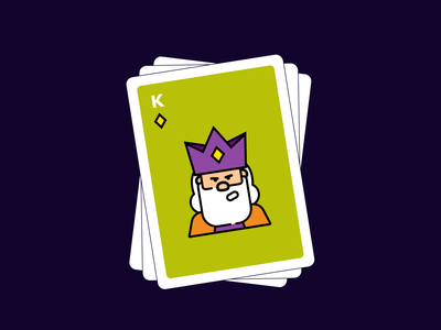 Playing Cards character diamond card game dribbble cards carddesign king illustration dribbbleweeklywarmup playing card flat clean