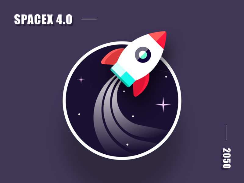 Mission patch - Dribbble Weekly Warmup Challenge scifi spacex 2050 universe ui design illustration explore stars rocket dark missionpatch spaceship space dribbleweeklywarmup
