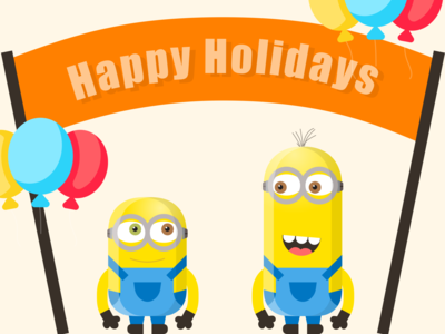 Holiday card - Dribbble weekly Warmup character fun bello yellow challenge dribbbleweeklywarmup holiday cards holidays celebrations minions flat vector illustration