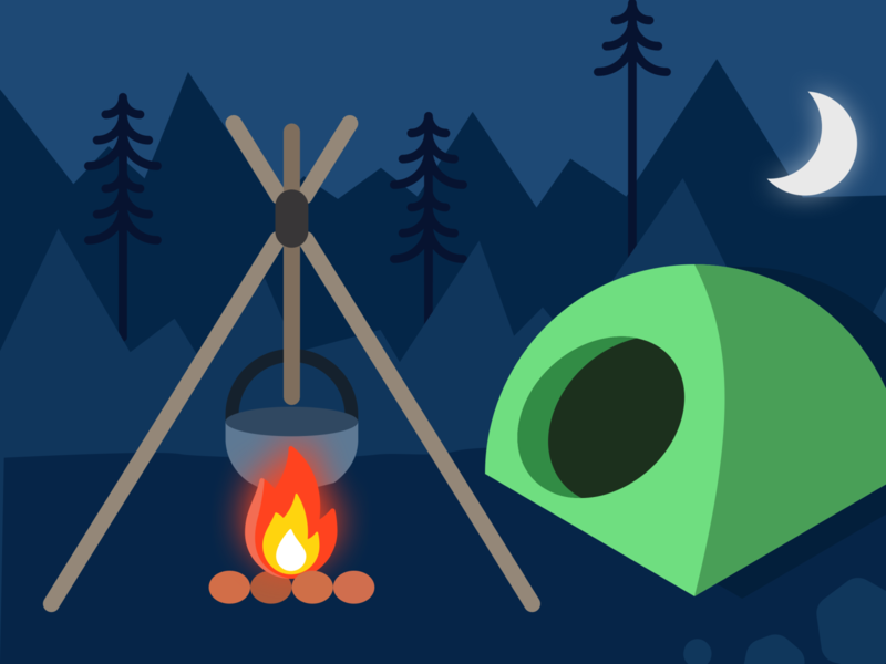 Campfire weeklywarmup camp moonlight tent pot fire camping bonfire campfire illustration design ui