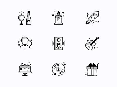 Celebration icons vector branding ui flat celebrate newyear 2020 icons blackandwhite icon set celebration