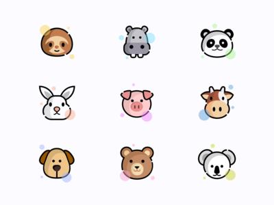 Animal icons koala bear dog cow pig rabbit panda hippo sloth animals icons iconset ux ui