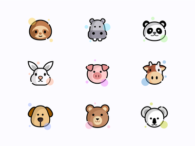 Animal icons koala bear dog cow pig rabbit panda hippo sloth animals icons iconset ux ui