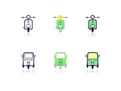 Vehicle icons ui flat illustration scooter auto rickshaw vehicles icon styles icon set icon