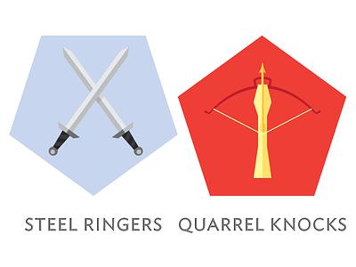 Rivaldian Mercenaries vector sword flat illustration sigils banners crossbow