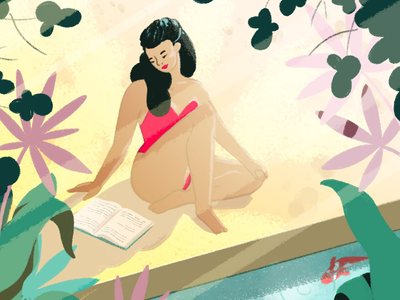 Summer Reading illustrator artwork drawing illustration girl summer poolside