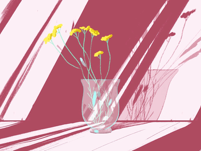 Flowers in the light texture nature artist drawing still life flowers design illustration