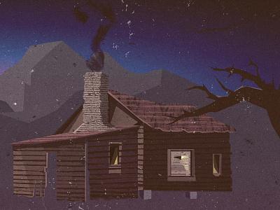 Cabin - Album Art album art cabin outdoors graphic design music band illustration cd texture sky mountains smoke