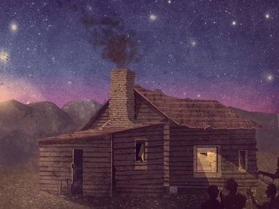 Home Sweet Home - Album Art album art outdoors graphic design band illustration cd cover sky mountains scenery