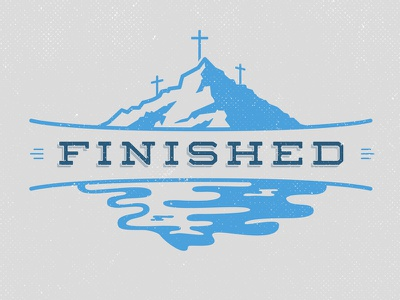 """""""Finished"""" Final Logos graphic design graphic design logo graphic design minimalist branding identity badge cross christ christian vector blue mountain mountains outdoor water lake church"""