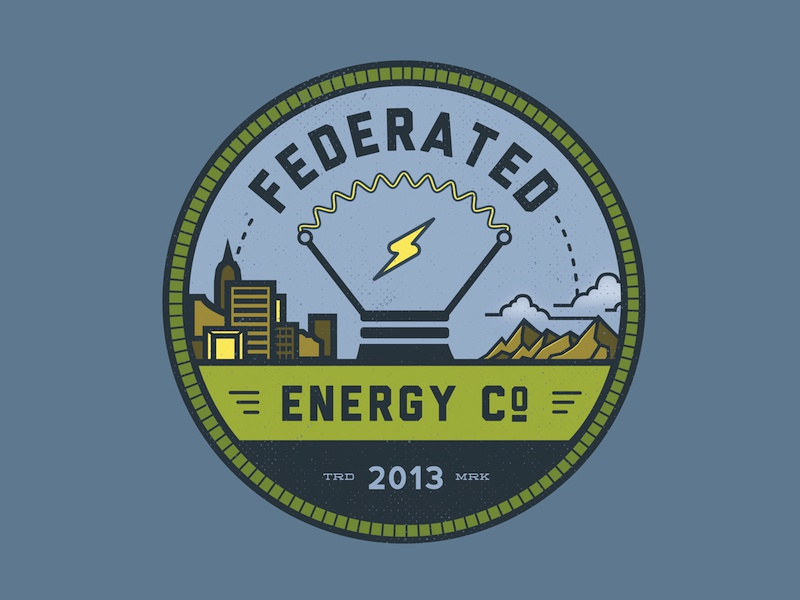 Federated Energy - Logo logo badge graphic design minimalist branding identity energy artistic direction corporate identity federated company mountains icon iconography nature outdoors clouds lightbulb lighting bolt city cityscape skyscraper skyline