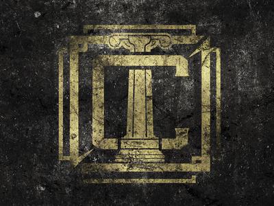 Century - Emblem Design graphic design logo c pillar band band logo typography western vintage lettering hand lettering metal fire epic album art minimal grunge branding music identity gold dust monogram emblem