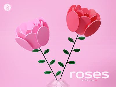 roses for you 🤍 digitalart graphic design pink model fun design illustration art valentines roses