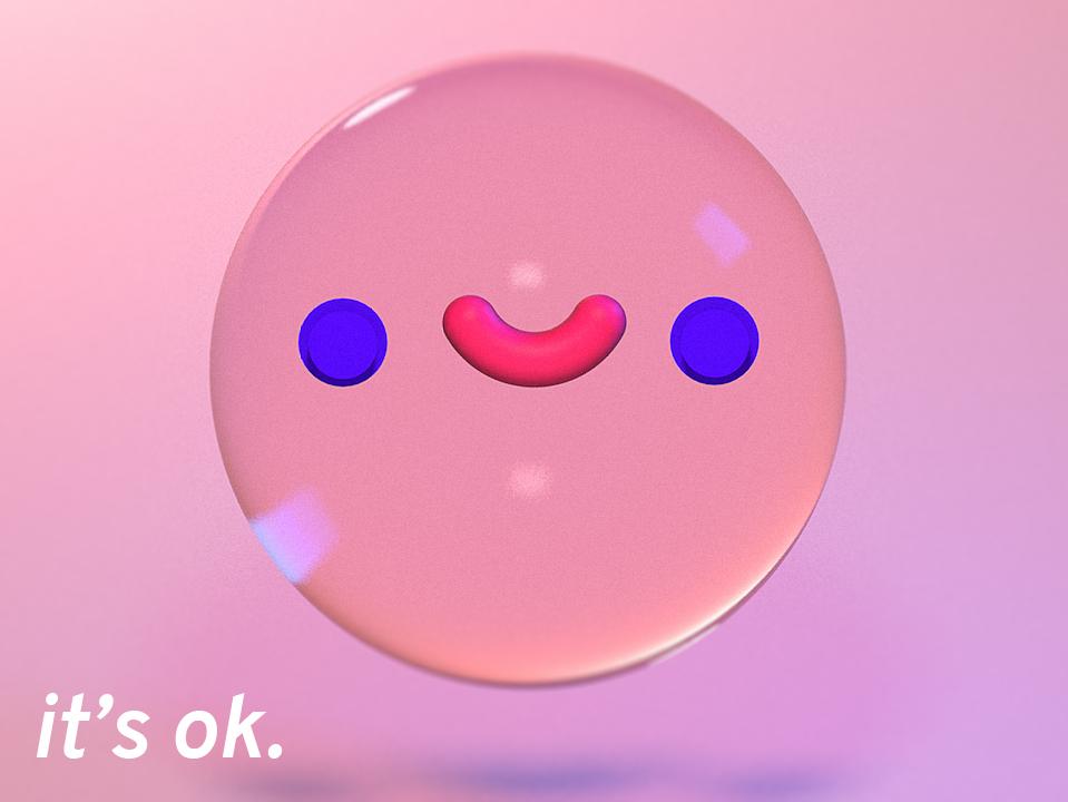 Its Ok keyframe character thumbnail rendering pink okay bubble model cinema4d