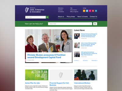 Public sector homepage concept governmental accessible news carousel flat footer homepage politics