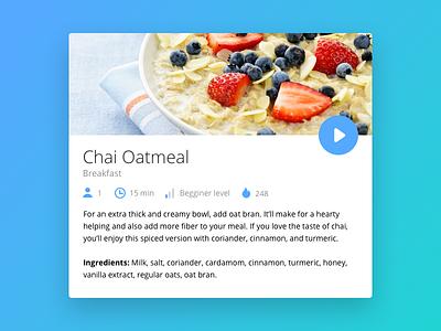 Day 009 - Recipe Card nutrition restaurant healthy play ux ui flat design recipe video