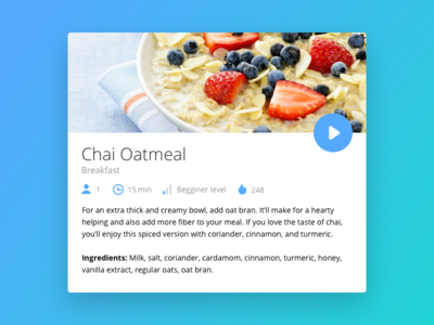Day 009 - Recipe Card nutrition restaurant healthy play ux ui flat design recipe video