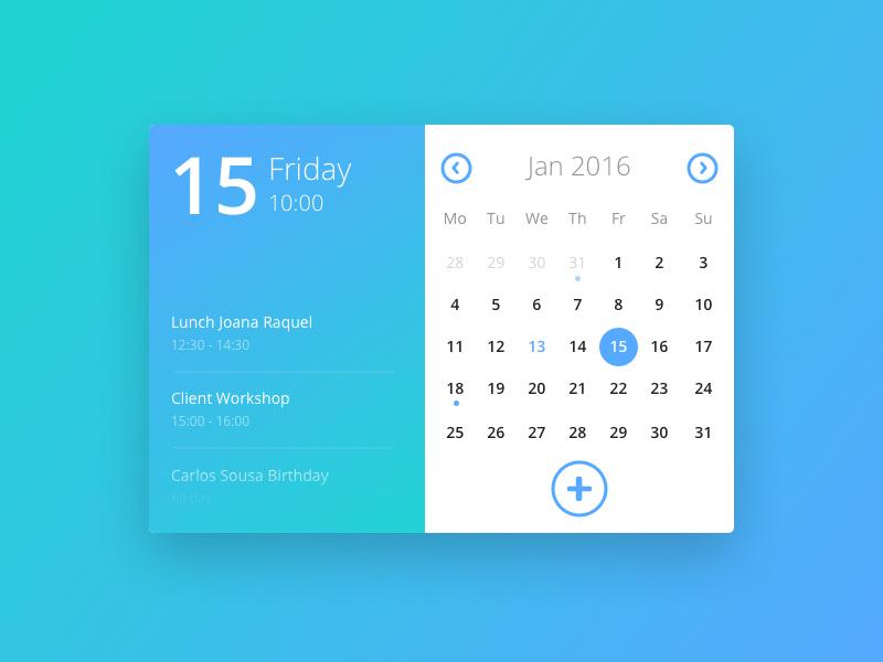 Design Calendar Using Javascript : Day calendar card by carlos sousa dribbble