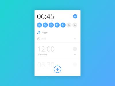Day 013 - Alarm Clock widget modular flat ui mobile ux design schedule morning clock alarm