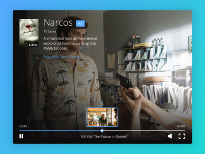 Day 016 - Video Player fullscreen volume play design ui ux series movie narcos player video