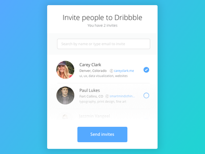 Day 021 - Dribbble Invitation Modal email search dialog dribbble invite