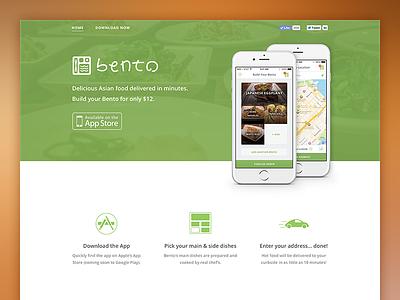 Bento Food Delivery Website website bento site app green orange delivery food