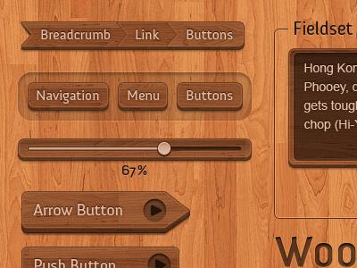Wooden Interface Elements PSD wooden button slider progressbar interface ui brown resource download