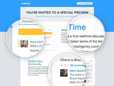 Coming Soon To Disqus interface design clean blue gray yellow