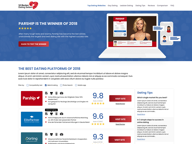 Dating-Website zoomen