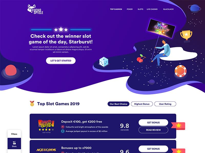 Top Slot Games List – Landing Page neon filter illustration poker top list casino gameshow games slots directory listing desktop affiliate graphics interface experience ux ui design