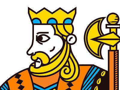 Card Deck King of Diamonds axe king vector illustration card deck