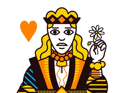 Q Heart houston orange cards playing deck card illustration
