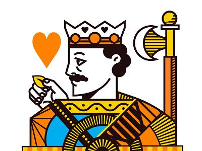 Jack Hearts cards illustration orange hearts deck card