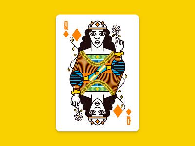 Queen Of Diamonds houston illustration orange playing cards