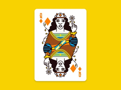 Queen Of Diamonds houston illustration orange playing cards