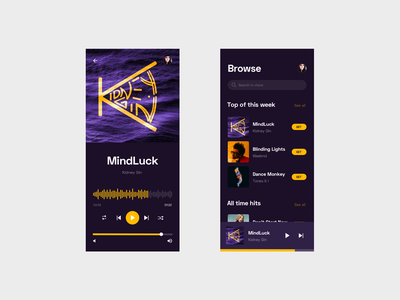 Music player mobile ui ux mobile ux mobile ui mobile app design mobile design mobile app mobile purple yellow music player music app music list player loader search search results search engine player app player ui
