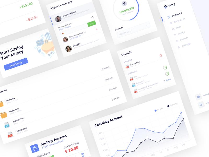 Fincy Dashboard Components clean banking finance dahsboard design web ux ui