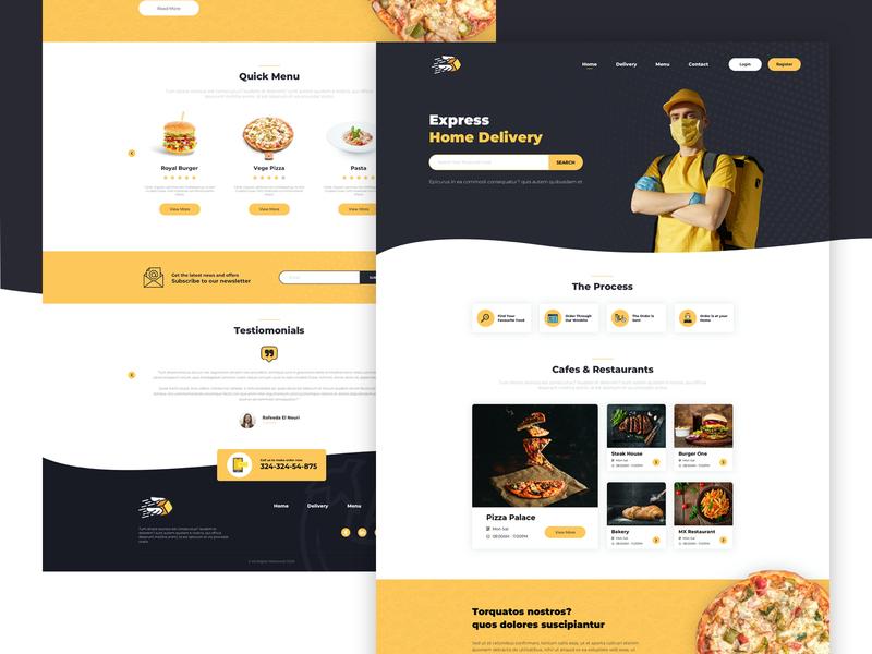 Food Delivery Landing Template webdesign foodie food and drink food website ux landingpage design landing clean web ui