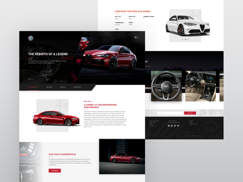 Alfa Romeo Giulia Dealership Landing Page clean onepage design website landingpage ui ux landing web