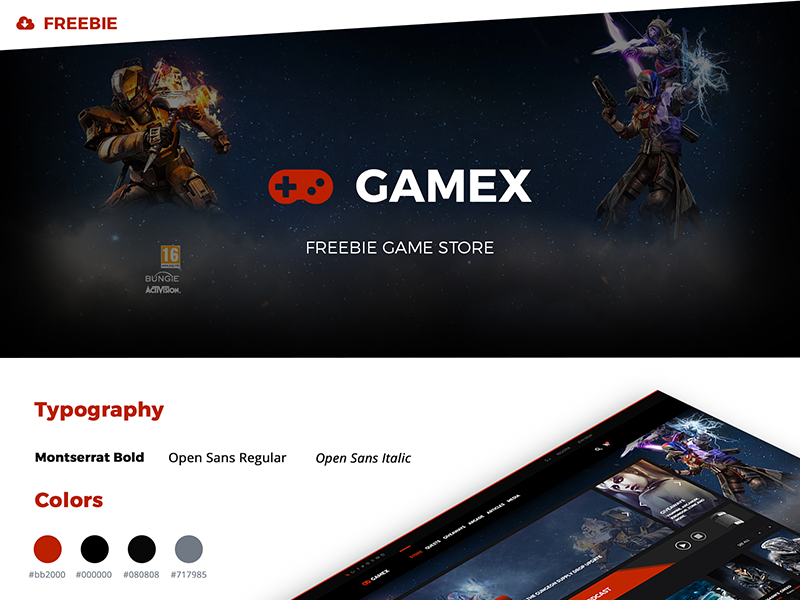 "Freebie Game Store ""GAMEX"" ui freebie"